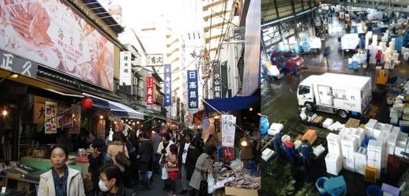 左:観光客でも気軽に利用できる場外市場  右:限界を超えている場内市場の密集ぶり